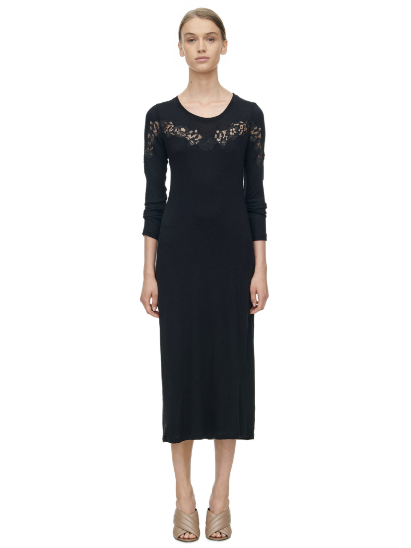 Rebecca Taylor Long Sleeve Lace Inset Jersey Dress - Black | TILDEN