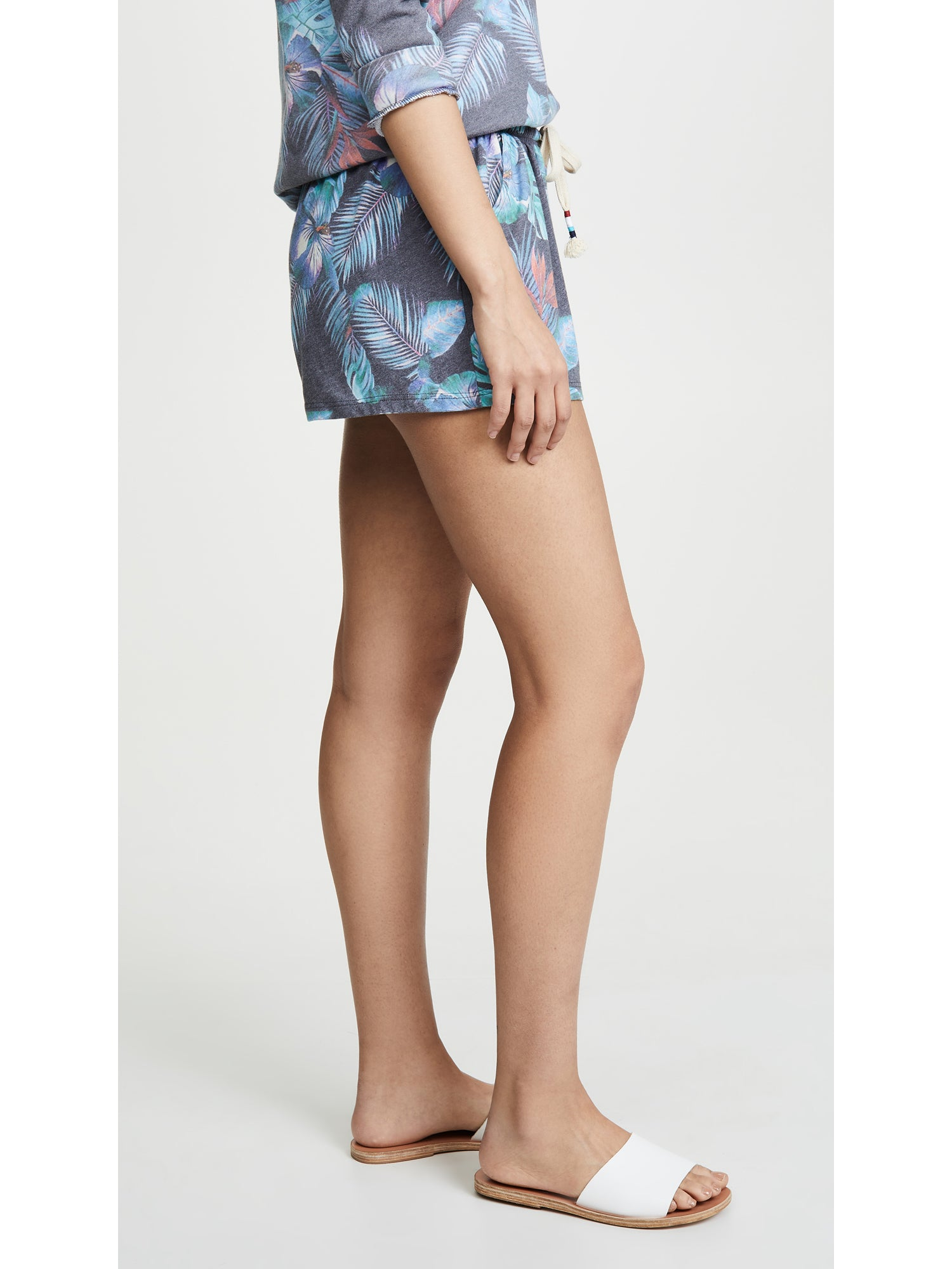 Sol Angeles Night Blooms Jersey Shorts - Blue Floral Print | TILDEN