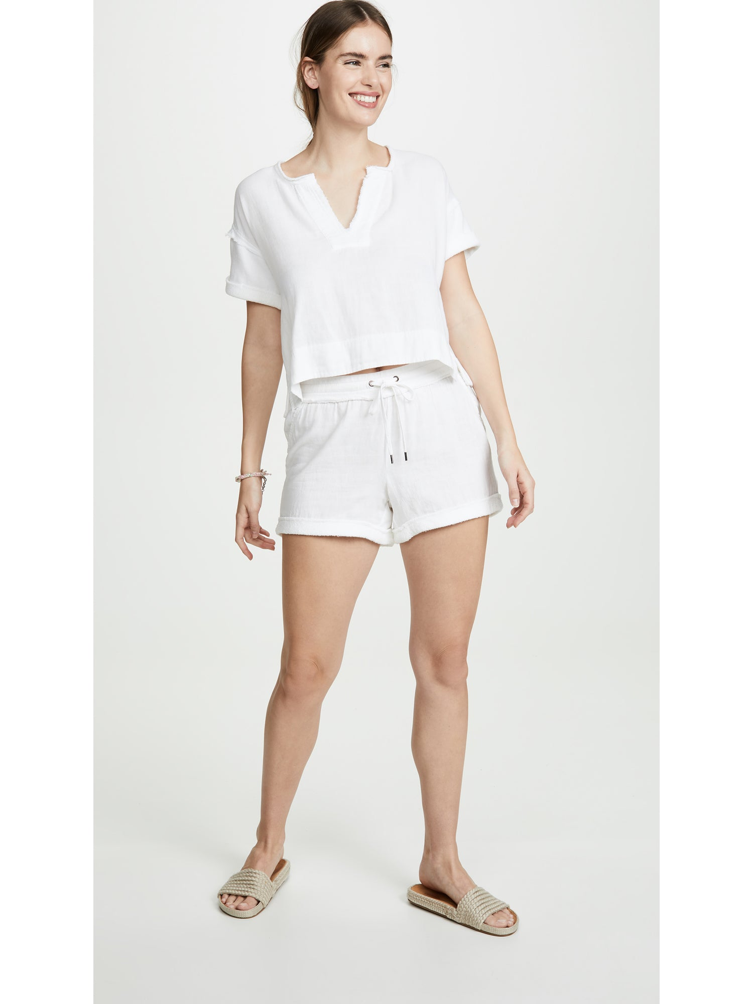 Splendid Abbot Mixed Media French Terry Shorts - White | TILDEN