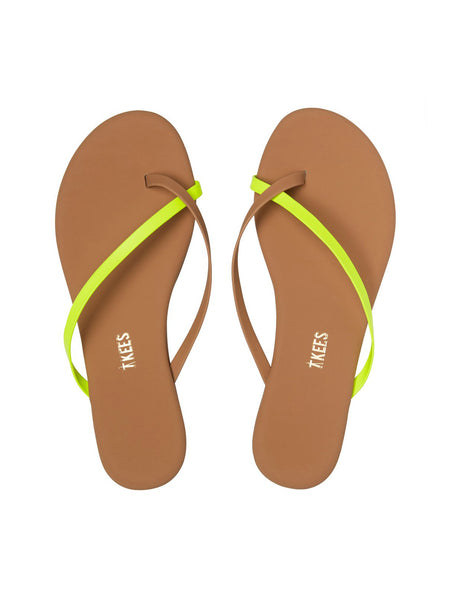 TKEES Riley Leather Sandal - Neon Yellow | TILDEN