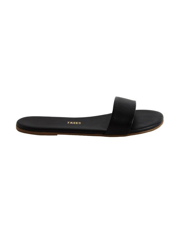 TKEES Alex Leather Slides - Black Stone Sandals | TILDEN