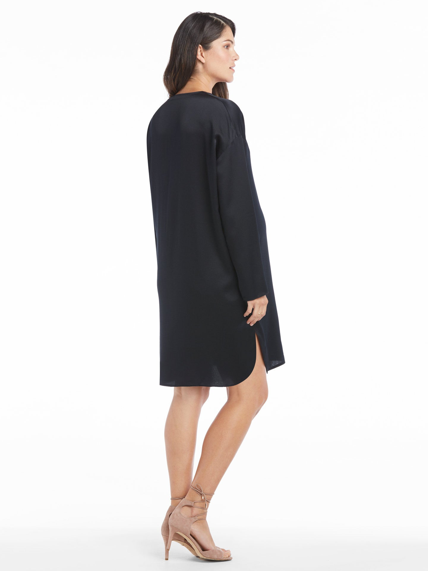 Vince Satin V-Neck Tunic Dress | TILDEN