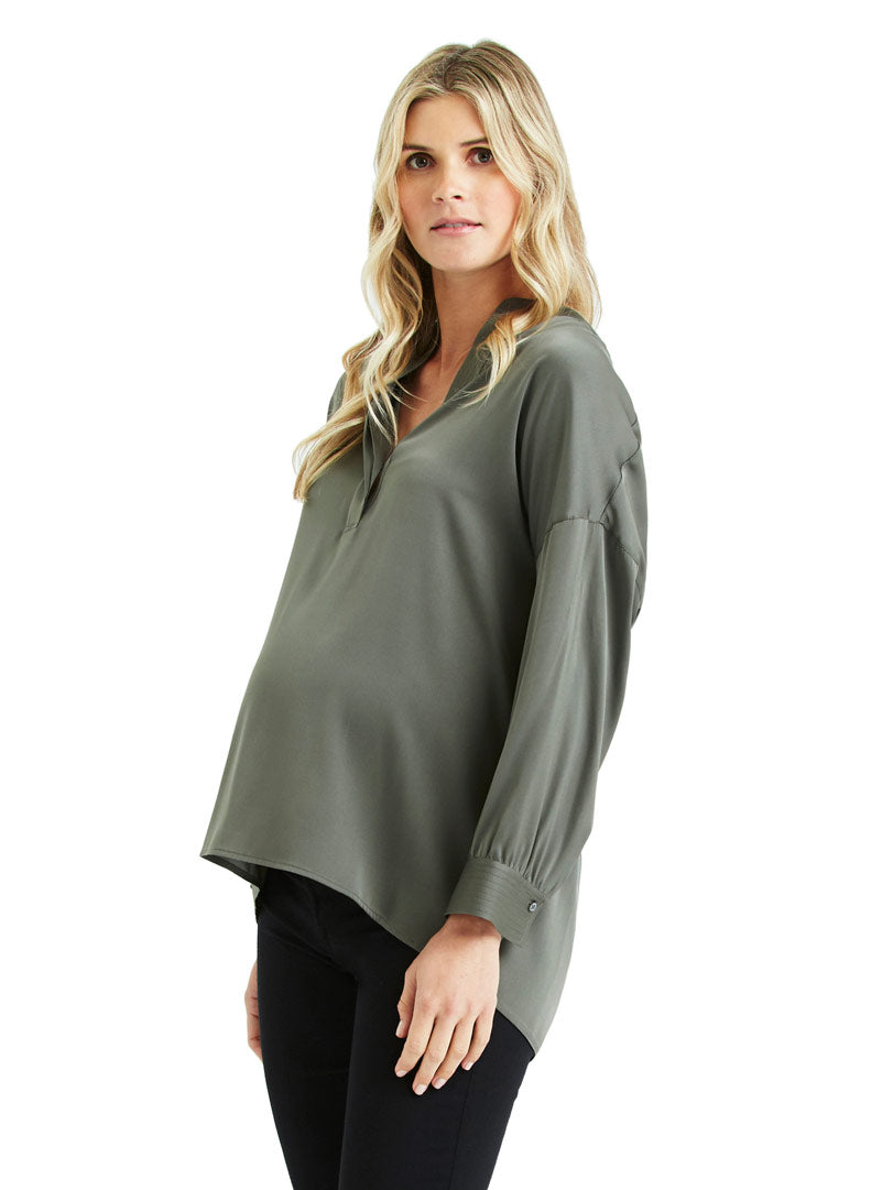 Vince Silk Band Collar Top | TILDEN