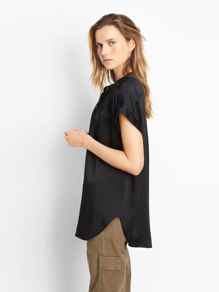 Vince Shirred Neck Silk Top | TILDEN
