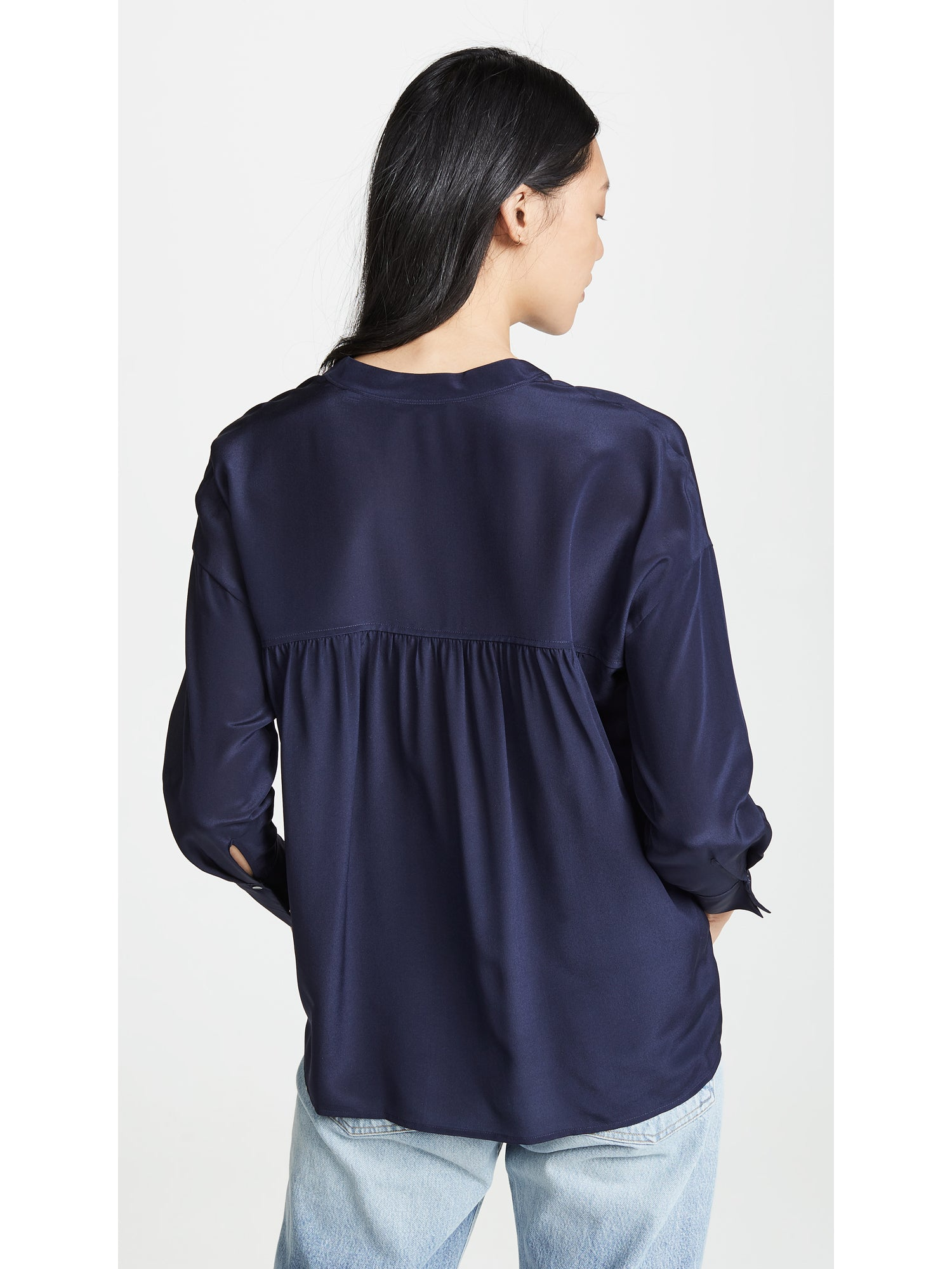 Vince Band Collar Silk Top - Marine Navy Blue | TILDEN