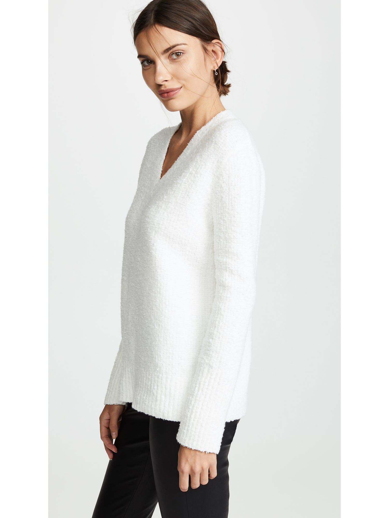 Vince Bouclé Cotton Textured Tunic Sweater - White | TILDEN