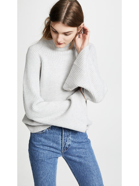 Vince Funnel Neck Cashmere Blend Sweater - Light Heather Grey | TILDEN