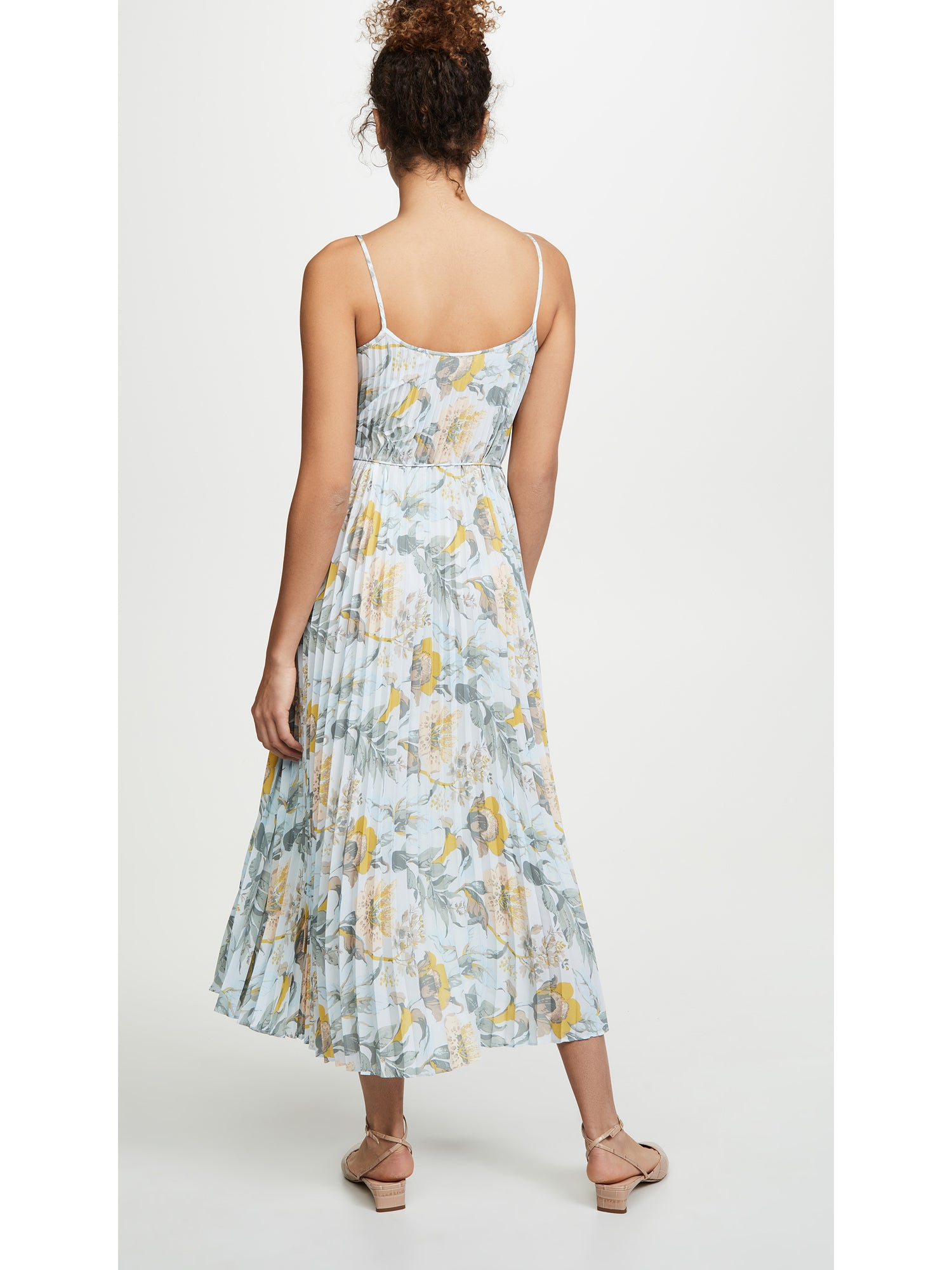 Vince Marine Garden Pleated Cami Maxi Dress - Surf Mist Blue | TILDEN