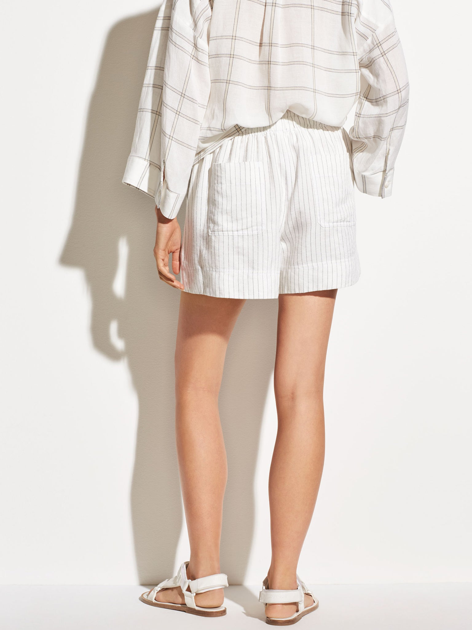 Vince Pencil Stripe Linen Shorts - Creme White | TILDEN
