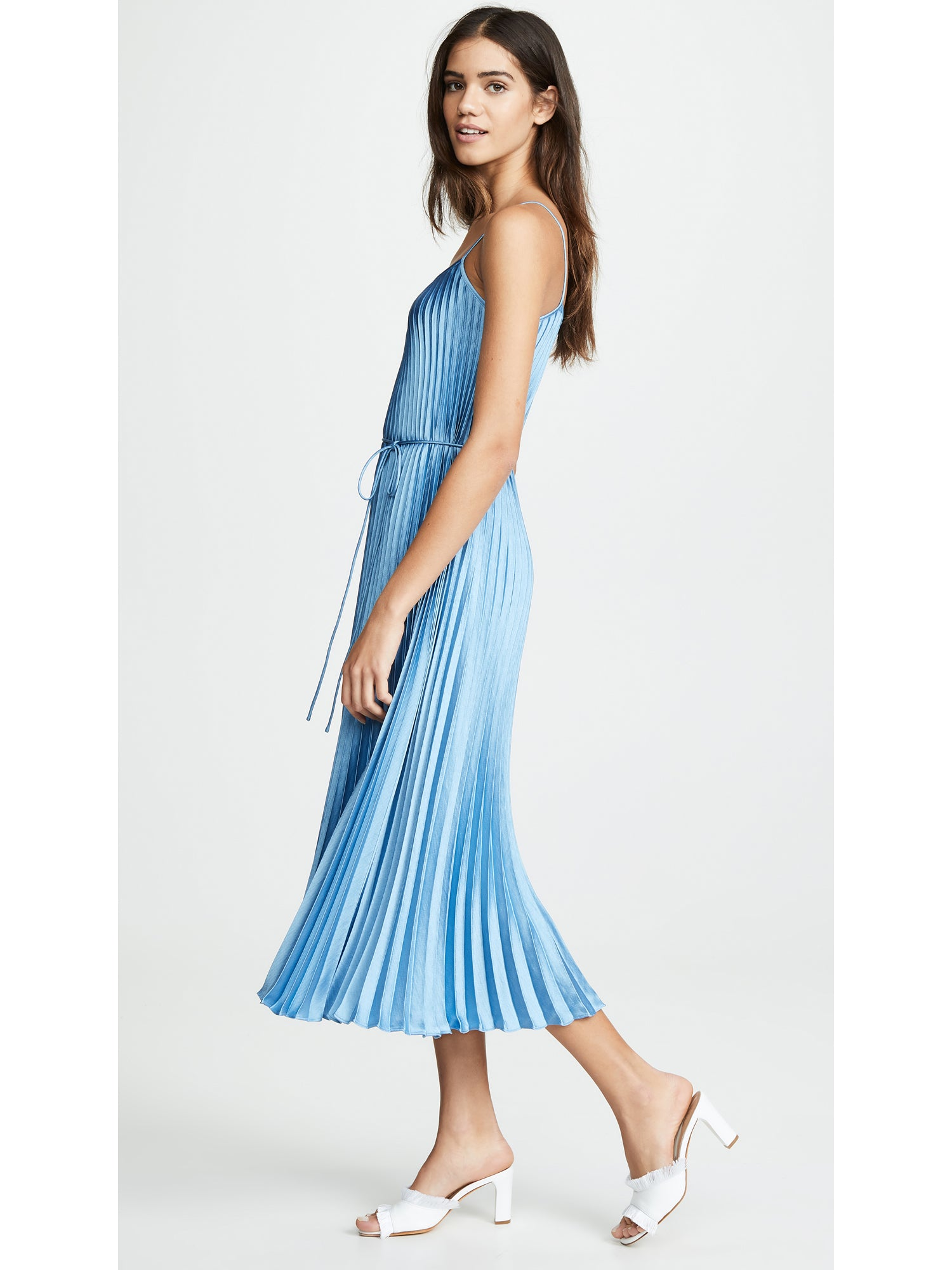 Vince Pleated Cami Dress - Blue Pumice Charmeuse Maxi | TILDEN
