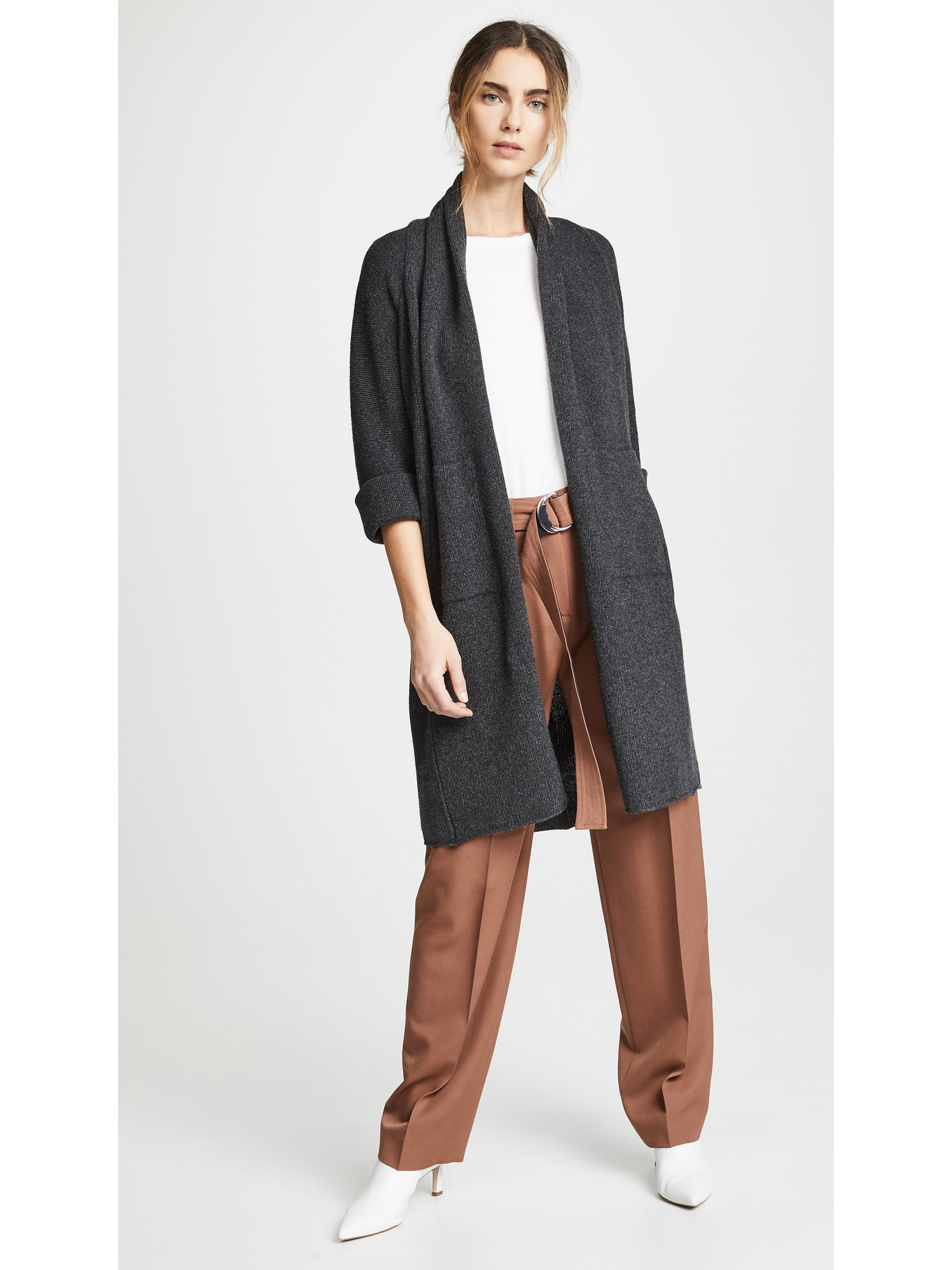 Vince Shawl Collar Cardigan - Heather Carbon Grey Sweater | TILDEN