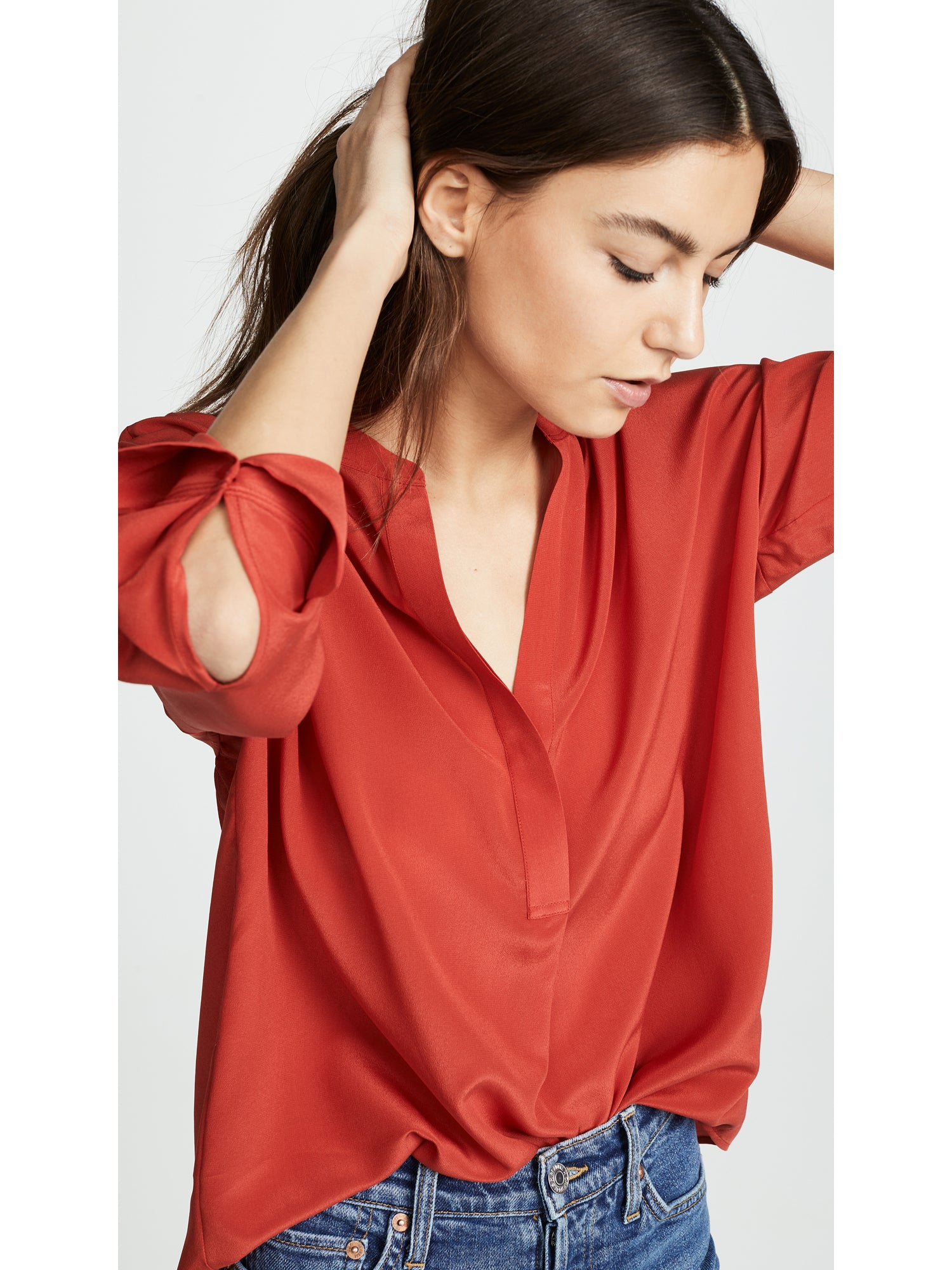Vince Silk Band Collar Top - Adobe Red | TILDEN