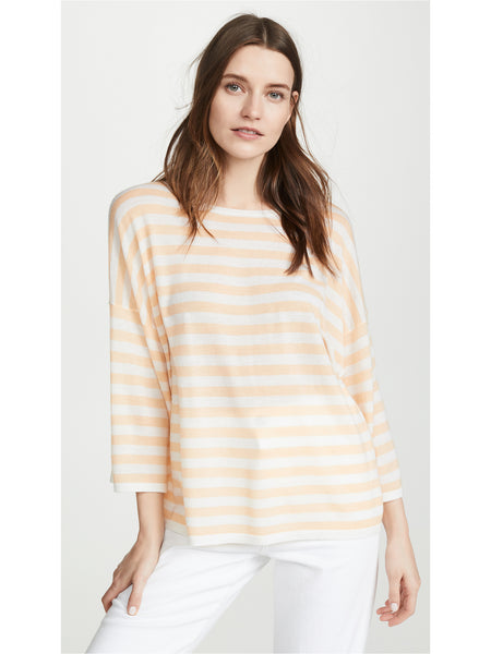 Vince Striped Boxy Tee Cashmere Blend Sweater - Cream Pale Ochre | TILDEN