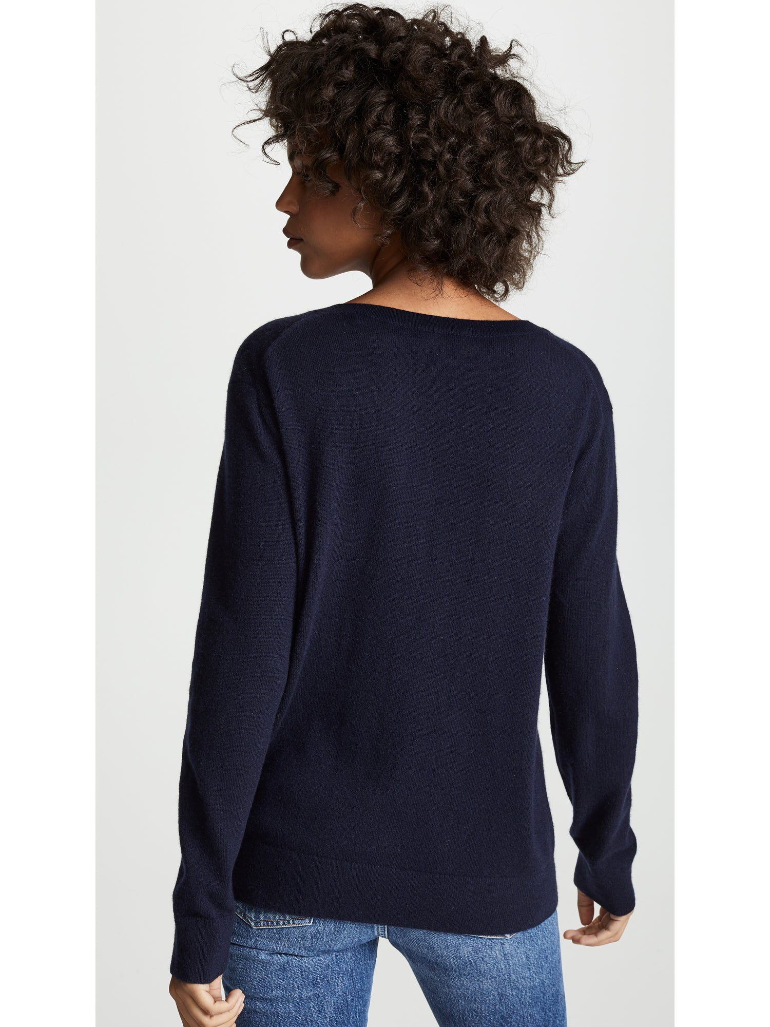 Vince Weekend V-Neck Cashmere Sweater - Coastal Navy Blue | TILDEN