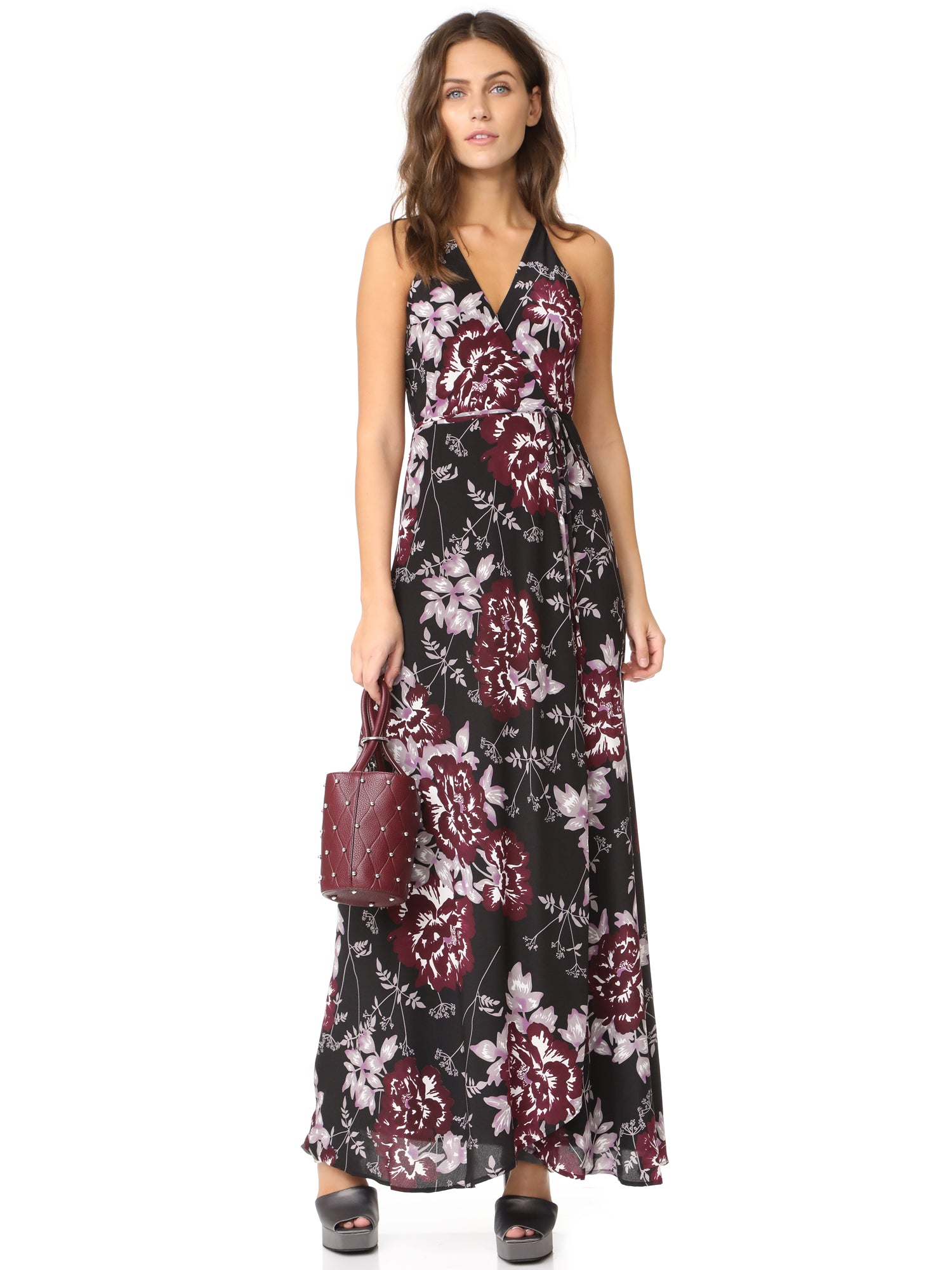Yumi Kim Rush Hour Silk Wrap Maxi Dress - Rose Ella Floral Print | TILDEN