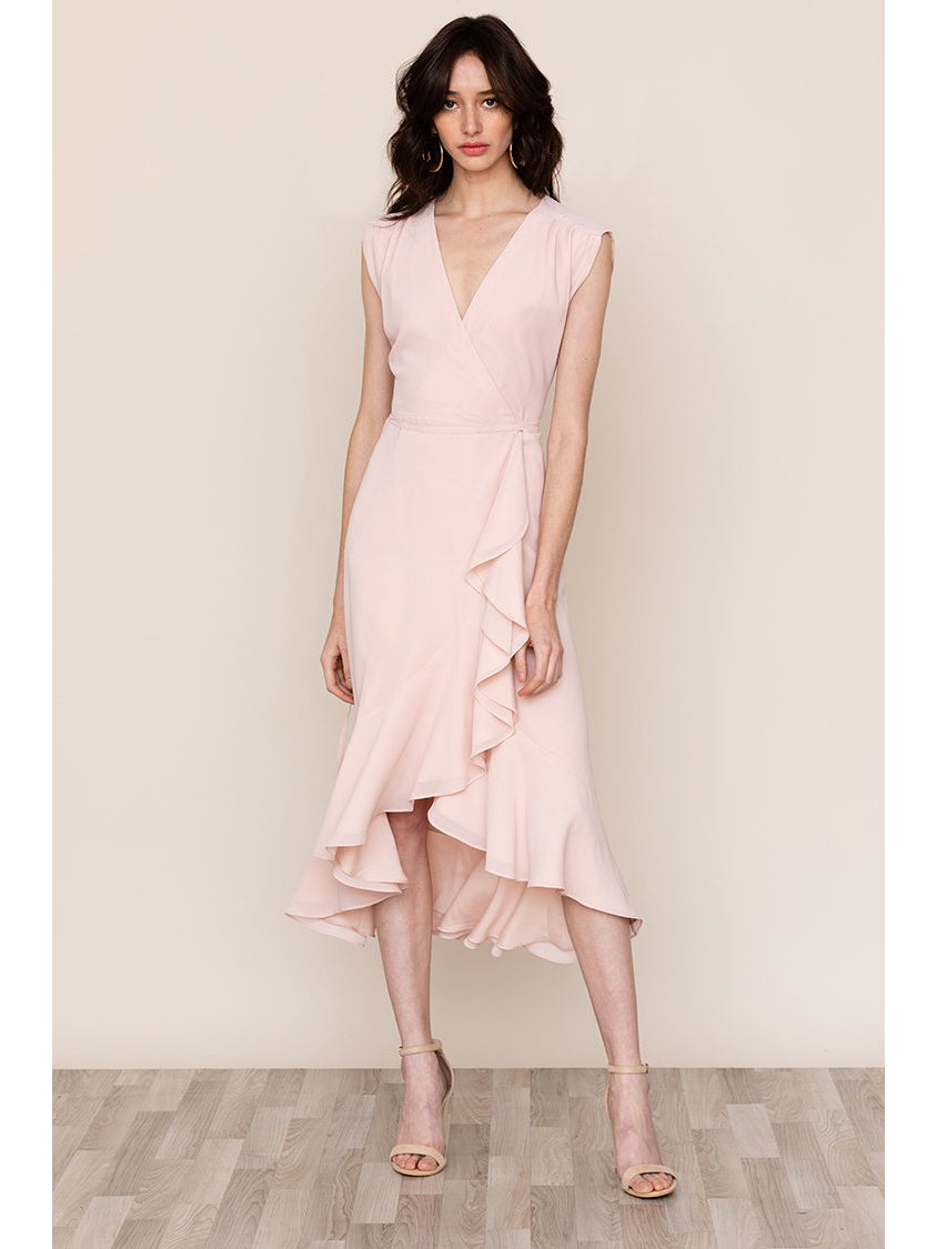 Yumi Kim Santorini Silk Wrap Dress - Blush Pink | TILDEN