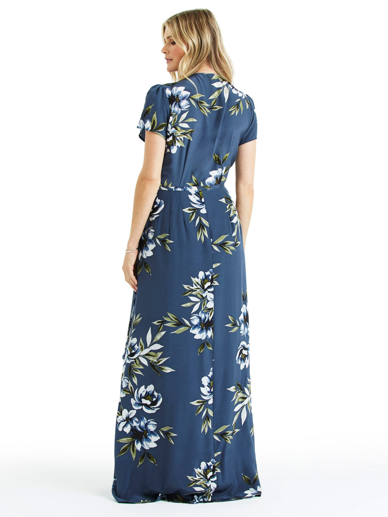 Yumi Kim Maternity Silk Maxi Dress - Blue Floral Print | TILDEN