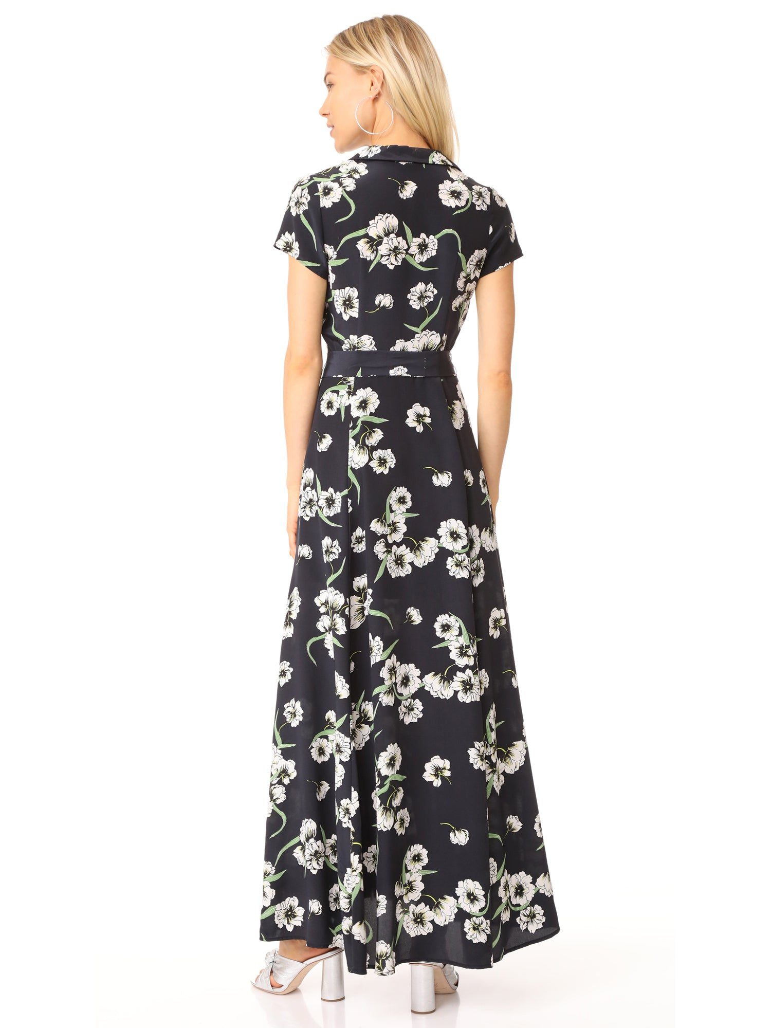 Yumi Kim Riviera Silk Maxi Dress Heirloom Black Floral Print | TILDEN