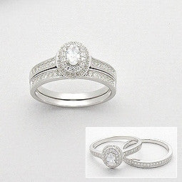 Faith Sterling Silver and CZ Ring Set