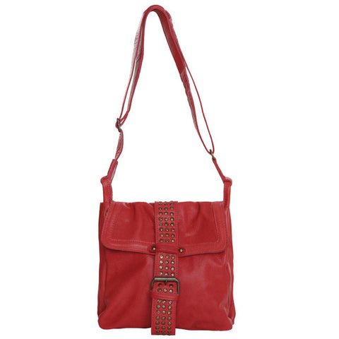 Florida Red Soft Leather Stud Satchel Handbag