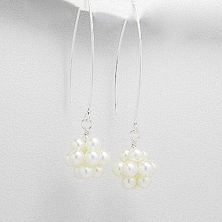 Letitia Sterling Silver and Pearl Cluster Drop Earrings