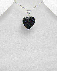 Aida Sterling silver heart pendant studded with black crystal glass.