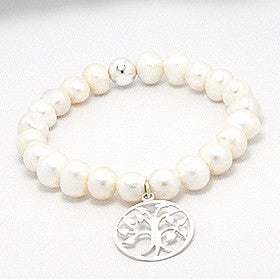 Annie Tree of Life Stretch Pearl Bracelet