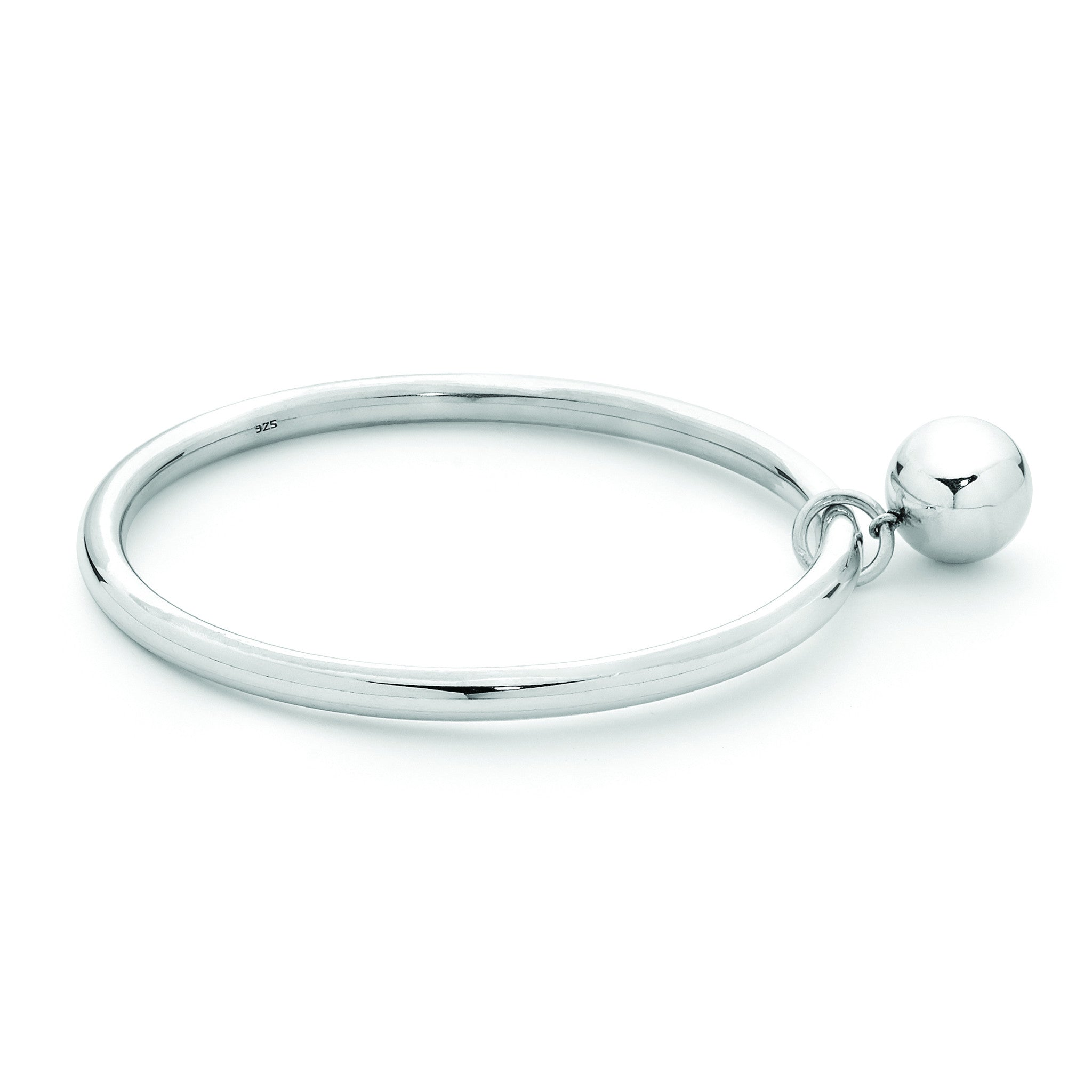 Belinda 925 Sterling Silver Bangle 5x62mm with 14mm Ball