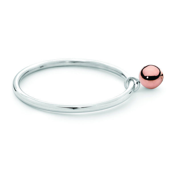 Melinda Sterling Silver Bangle with Rose Gold Plated 14mm Ball