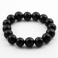 Gaye Black Agate 12mm Stretch Bracelet