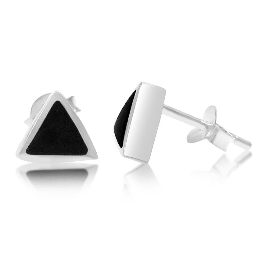 Jay Triangle Stone and Sterling Silver Stud Earrings