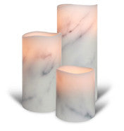 "ENJOY Flameless Candle 3.1"" x 8"" Platinum Carrara Marble with Multi Timer"