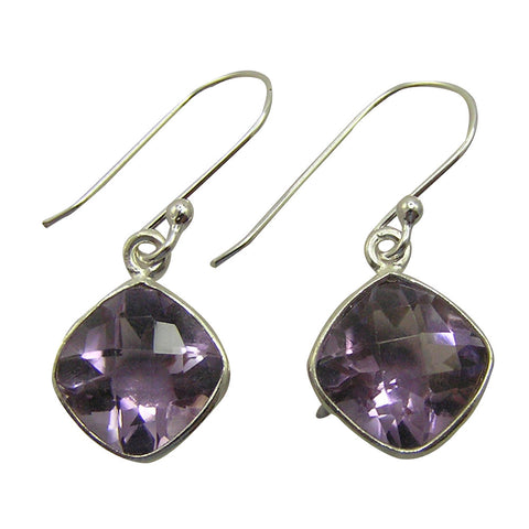 Alice Diamond Shaped Silver and Precious Stone Earrings