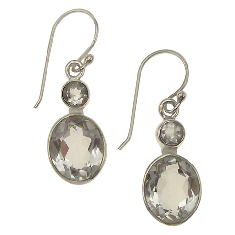 Cassie Clear Quartz Sterling Silver Drop Earrings