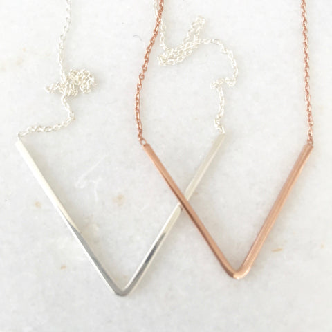 Cate Sterling Silver or Rose Gold V Necklace