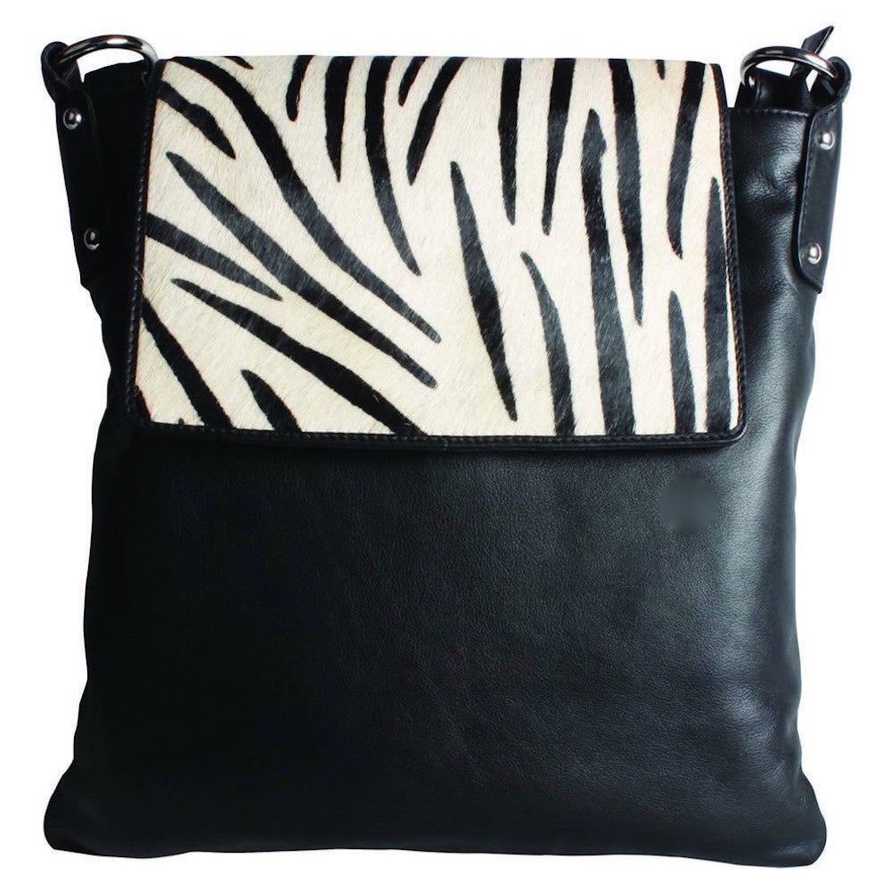 Cenzoni  Black Leather and Zebra Print Hair-on Crossbody Handbag