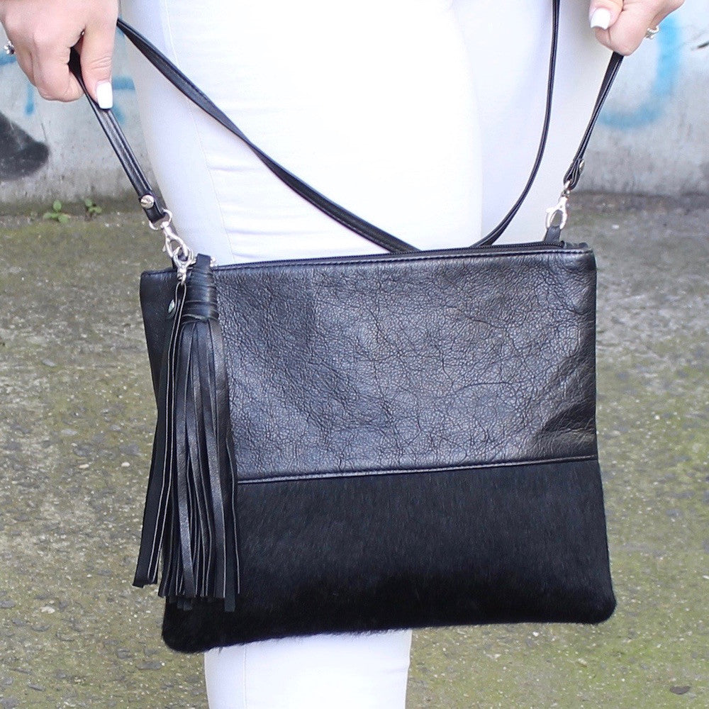 MOOI Lee in Black Leather Hair-on Combo Clutch / Bag