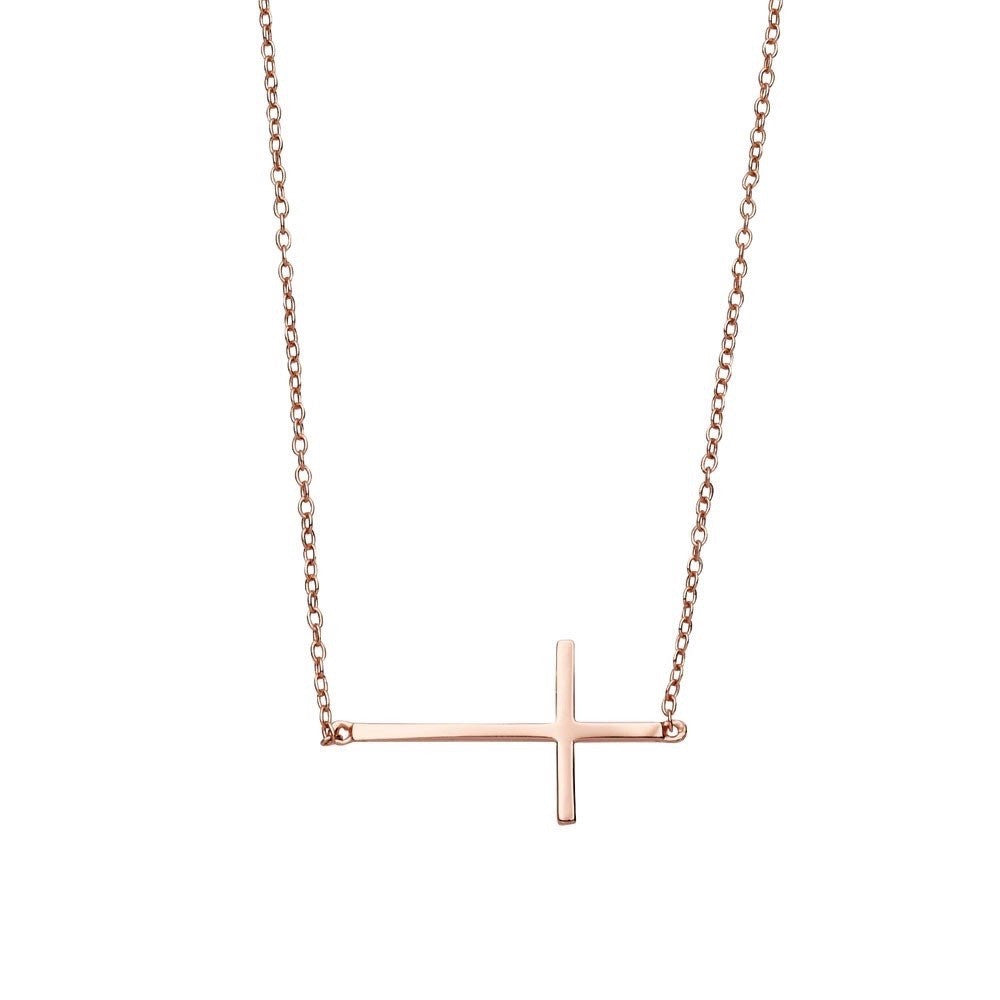 Felix Rose Gold Sideways Crucifix Necklace