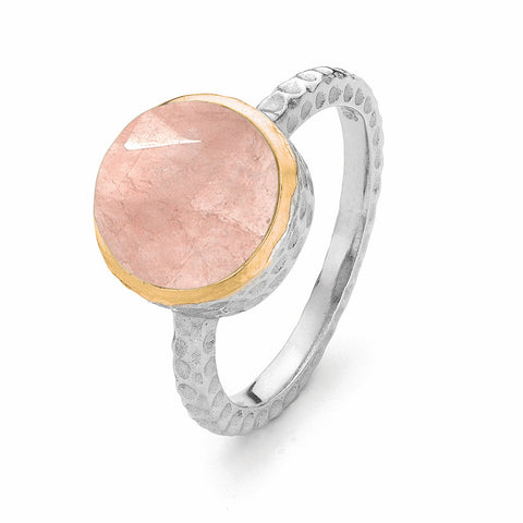 Leeza Rose Quartz Ring in Sterling Silver with Gold Trim