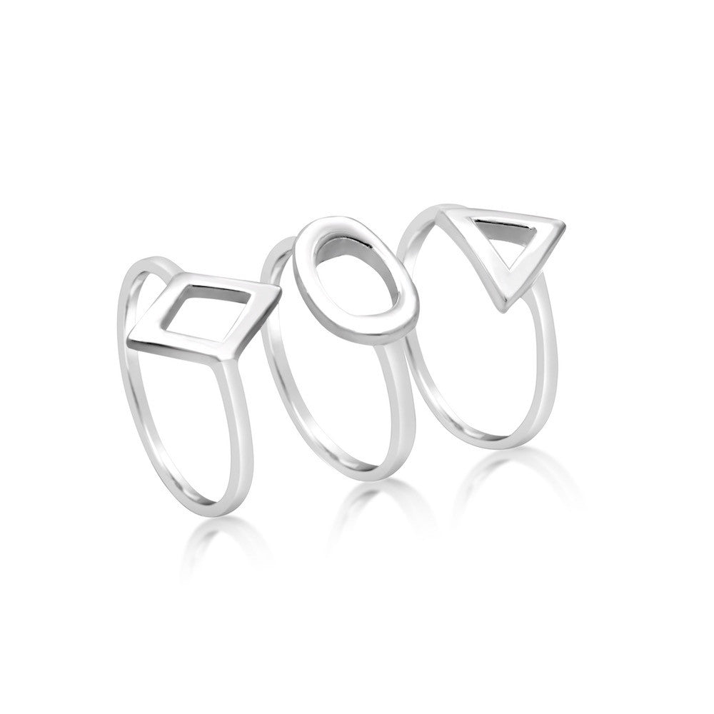 Megan Sterling Silver Triple Midi Ring Set