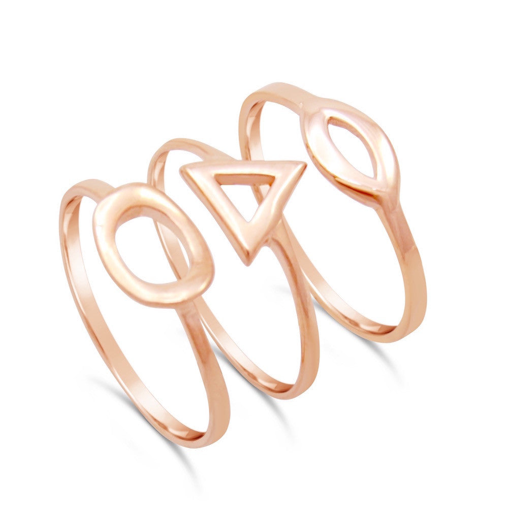 Felicia Rose Gold Triple Midi Ring Set