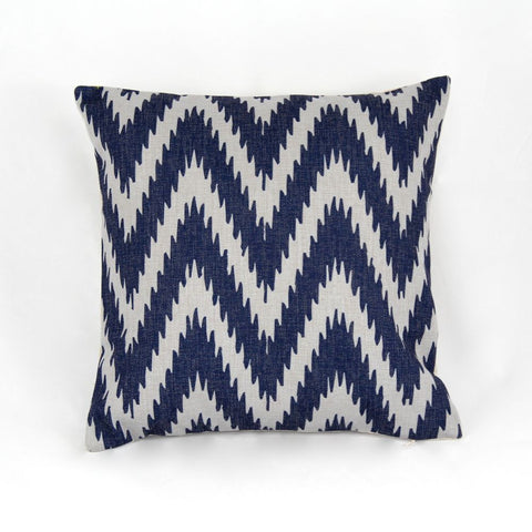 BLUE ZIG ZAG WOVEN CUSHION