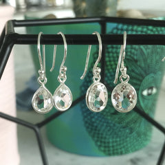 Sasha Precious Stone and Sterling Silver Drop Earrings