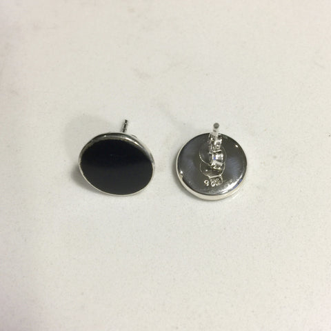 Lily Black Onyx Sterling Silver 1.2 cm Stud Earrings