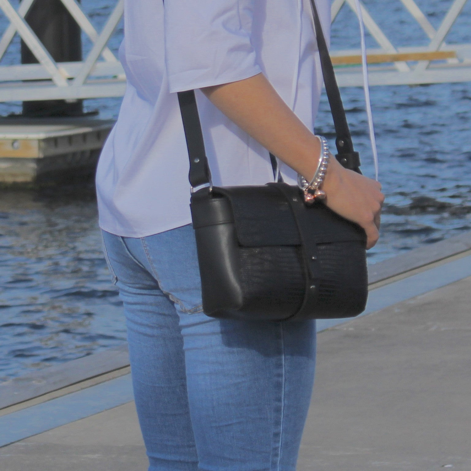 Sophia Boxy Satchel in Black Snake Leather by Convict