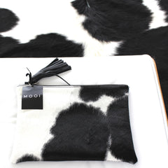 Mooi Jem in Black and White Solid Leather Cow hide Bag / Clutch