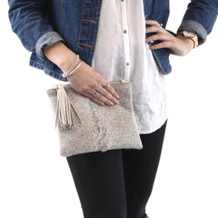 MOOI Mickey in Grey and Taupe Hair-on and Leather Bag