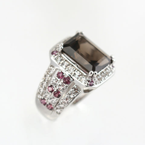 Preciada Smoky Quartz, Rhodolite and White Topaz Ring