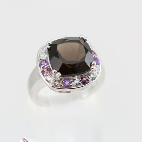 Evelyn Rhodolite, Smoky Quartz and White Topaz Ring