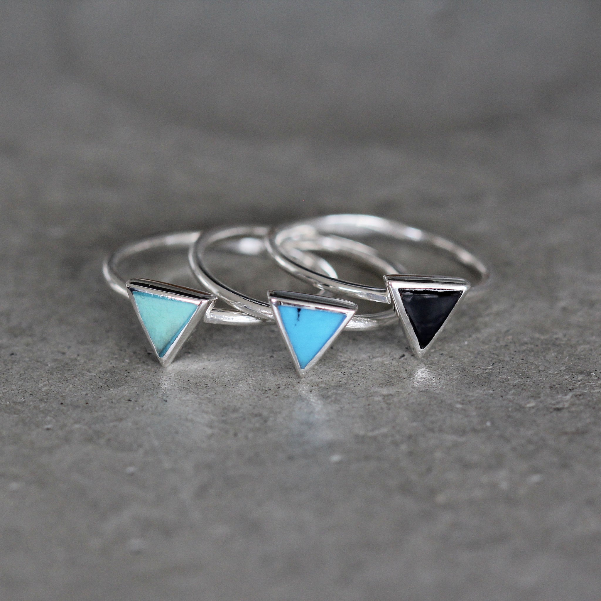 Jay Triangle Stone and Sterling Silver Ring Set of 3
